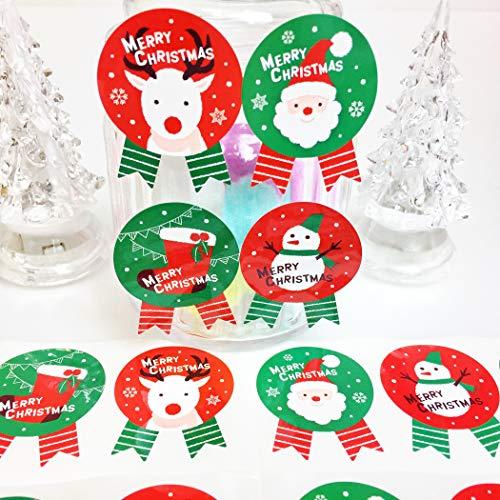 creve クリスマス ギフトシール ギフトステッカー ラッピングラベル リボン型 光沢 防水 (サンタ 雪だるま 靴 トナカイ 4種 大きめ 4.5×3.5cm 50枚)