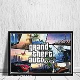 xiangpiaopiao Grand Theft Auto V Póster De Videojuego GTA 5 Póster Y Lienzo Impreso 50X70Cm -Mg4724