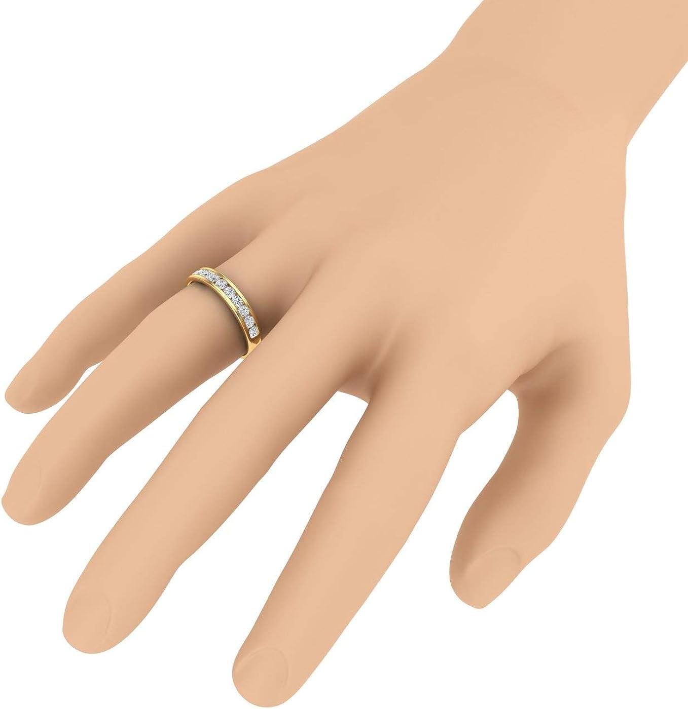 1/2 Carat to 1 Carat Channel Set Diamond Wedding Band Ring in 14K Yellow Gold