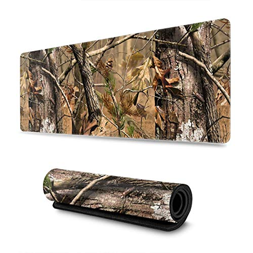 Hunting Camo Gaming Mouse Pad, Long Extended XL Mousepad Desk Pad, Large Non Slip Rubber Mice Pads Stitched Edges, 31.5'' X 11.8''
