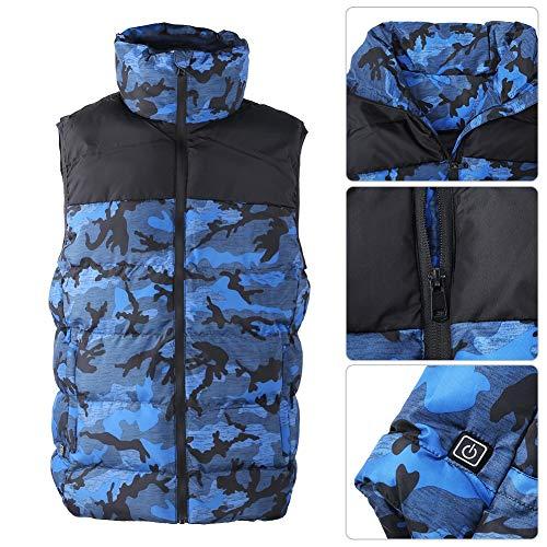 Herren Infrarot beheizt Revers Baumwolle Weste Outdoor Warm 3 Stufen Temperatur Smart Einstellbare Jacke Mantel Winter Kleidung Outfit(XL-Blau)