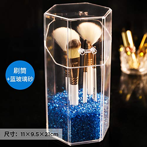 amayituo Acryl Make-up Pinsel Eimer Tragbare Outing Beauty Pinsel Kosmetik Aufbewahrungsbox Stift Pinsel Staubbedeckte Perle Make-up Pinsel Barrel + Blue Glass Stone 1 Beutel