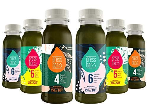 3 Tage Saftkur grün von pressbar - 18 Flaschen - 3 verschiedene Säfte pro Tag. Kaltgepresste Säfte für Deine Kur - hochwertige natürliche Obst & Gemüse Säfte
