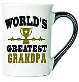 Cottage Creek Grandpa Mug, Large Ceramic 18oz World's Greatest Grandpa Coffee Mug, Grandpa Gifts [White]