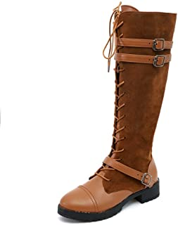 Horse Riding Boots Women Insoles Shoes Winter Knee Thign Chukka Desert Military Tactical Zipper Lace Up Flat Heel Platform (Color : Yellow, Size : 5 UK)