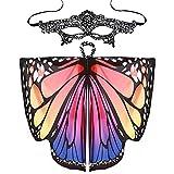 Schal +Maske, Mode Stil Frauen Schmetterlingsflügel Schals Damen Nymphe Pixie Wing Poncho Zubehör Cosplay