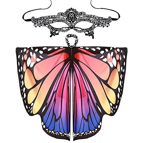 Schmetterling Kostüm Damen Schmetterling Umhang Mit Maske Kostüm Faschingskostüm Schmetterlingsflügel Poncho Cosplay Bauchtanz Kostüm Tanzzubehör Wasserdicht Party URIBAKY