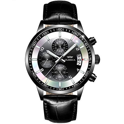 Reloj de Cuarzo analógico Impermeable para Hombre, Negro -D