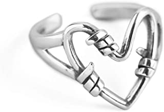 Dtja Unique Heart 925 Sterling Silver Ring for Women Girls Vintage Statement Engagement Promise Expandable Open Finger Rin...