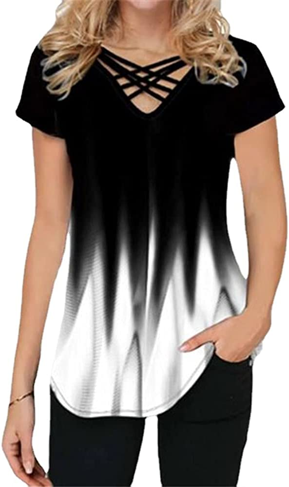HOLATOK National uniform free shipping Women's Short Sleeve Shirts Cross Neck Gradien Phoenix Mall T-Shirt V