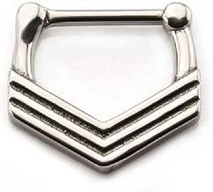 Pierced Owl Triple Chevron Septum Clicker in 316L Stainless Steel
