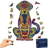 Puzzle de Madera Puzzle de Labrador, Puzzle de Colorido de Forma única Puzzle Animales para Adultos y Niños Colección de Juegos Familiares