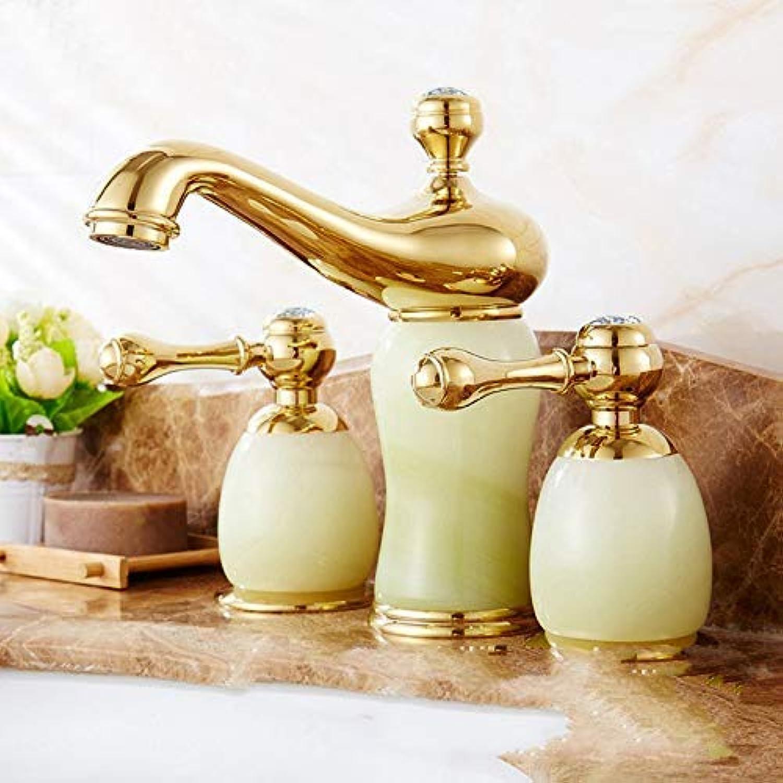 CFHJN Home Armaturen Wasserhahn Waschtischmischer Kupfer Antik DREI-Loch Becken Jade Gold Becken Doppelgriff Heier und Kalter Wasserhahn