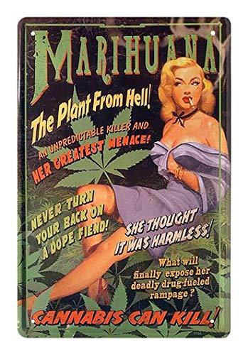 helges-shop Blechschild Marihuana The Plant from Hell - Retro Deko Vintage Schild - Metallschild Dekoration Cannabis Weed Joint - 30er Jahre Propaganda Motiv - 20x30cm