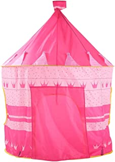 HO-TBO speltält, söt rosa krona vikbar prinsessa stor lekstuga prinsessa lås tält lekset barnrum pop up lekhus leksak tält...