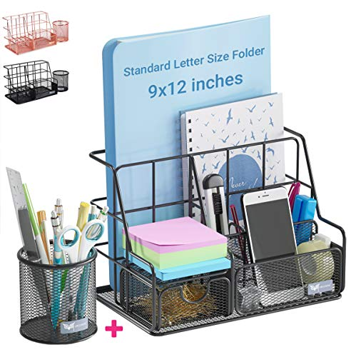 Orgowise Mesh Desk Organizers and Accessories Set. Black Desktop Organizer with Pen Holder and Paper File Organizer for Real Desk Organization. Cute Office Supplies Storage for Kids and Adults