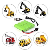 DOUBLE E 4.8v 800mah AA NiMH Rechargeable Battery with USB Cable Charger for Excavator Toys Remote Control Trucks