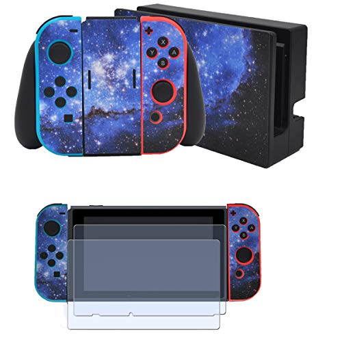 Taifond Full Set Faceplate Skin Decal Stickers for Nintendo Switch with 2Pcs Screen Protector (Console & Joy-con & Dock & Grip) -Blue Galaxy