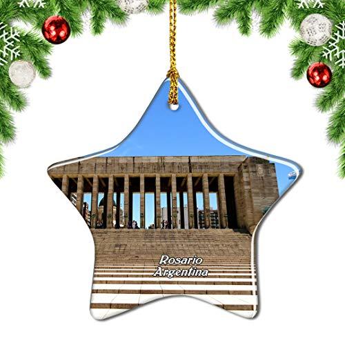 Weekino Monumento Histórico Nacional Argentina a la Bandera Rosario Decoración de Navidad Árbol de Navidad Adorno Colgante Ciudad Viaje Porcelana Colección de Recuerdos 3 Pulgadas