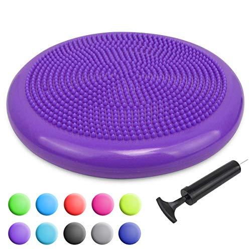 Cheapest Price! Trideer Inflated Stability Wobble Cushion with Pump, Extra Thick Core Balance Disc, ...
