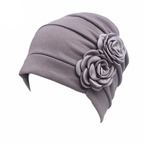 HONENNA Chemo Turban Headband Scarf Beanie Cap Hat for Cancer Patient (Gray)