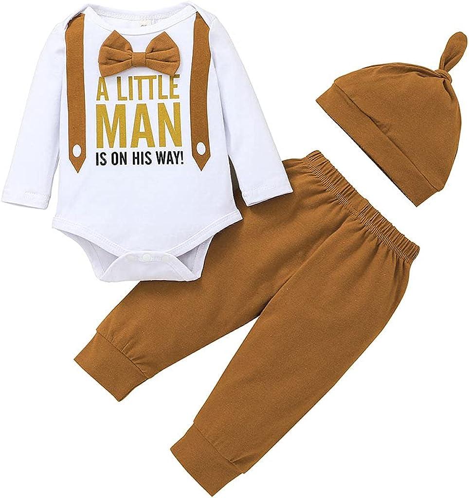 Baby Boy Clothes Newborn Boy Outfits Infant Boy Bow Tie Long Sleeve Letter Printed Romper Pants & Hat 3Pcs Set