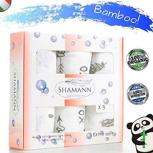 Mussole Neonato 3 copertine da 120X120 Cm, Bamboo-Cotone Biologico, Ideali in Ogni Occasione come: Lenzuola Culla, Lenzuola passeggino, Lenzuola Ovetto, fasciare il neonato o Come idea regalo