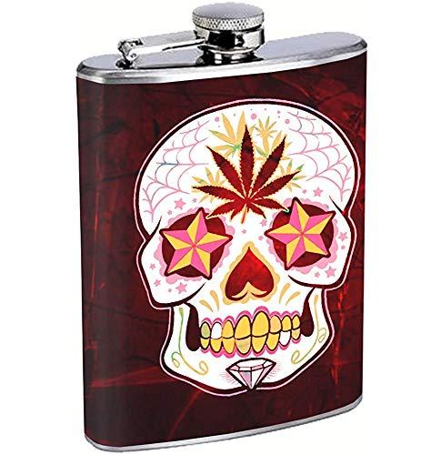Tag des toten Zuckerschädels P () t Blatt-Edelstahl-Flasche, die Whisky-Mexikaner Calavera trinkt