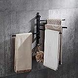 NO BRAND Suave Negro en rotación Varilla de Toallas de baño Estante Colgante 304 Colgantes de Acero Inoxidable Toalla Multi-Bar Cuarto de baño Toalla Toalla Anillo Stands