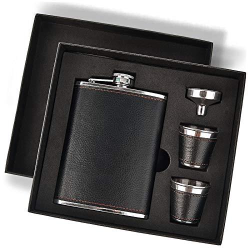 Hip Flask Gift Set, Hip Flasks for Liquor for Men with Black Leather Cover, 8 Oz Hip Flask Set, 18/8 Stainless Steel Hip Flasks for Liquor with 2 Cups & Funnel, Flasks for Liquor for Men Gift Box