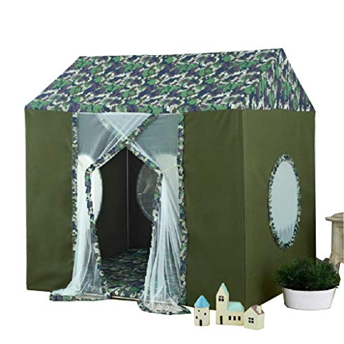 ZPHWH-E HWH Children's Camouflage Playhouse with Mat, House Tent for Boys, Reading Corner Kids Play Tents for Children 6 M+, Toys Teepees Game house ( Color : A , Size : 120*140*143CM )