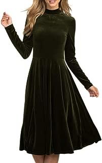 Inorin Womens Velvet Dress A Line Long Sleeve Fit and Flare Swing Party Skater Midi Dress