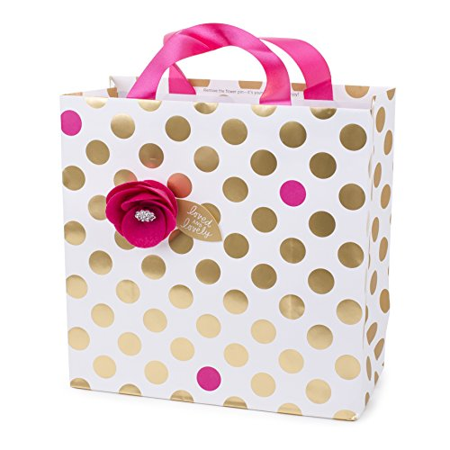 Hallmark Signature 10' Large Gift Bag (Gold Polka Dots with Pink Flower) for Birthdays, Bridal Showers, Baby Showers, Mothers Day or Any Occasion