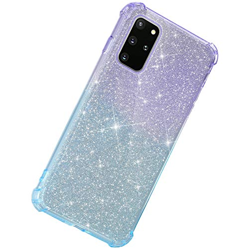 Herbests Kompatibel mit Samsung Galaxy S20 Plus Hülle Durchsichtig Farbverlauf Glänzend Kristall Glitzer Transparent TPU Silikon Handyhülle Ultradünn Stoßfest Bumper Case Schutzhülle,Lila Blau
