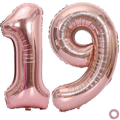 Juland Rose Gold Number Balloons XXL Giant Foil Birthday Balloon Large Foil Mylar Balloons 40 Inch Giant Jumbo Number Balloons for Birthday Party Decorations – 19