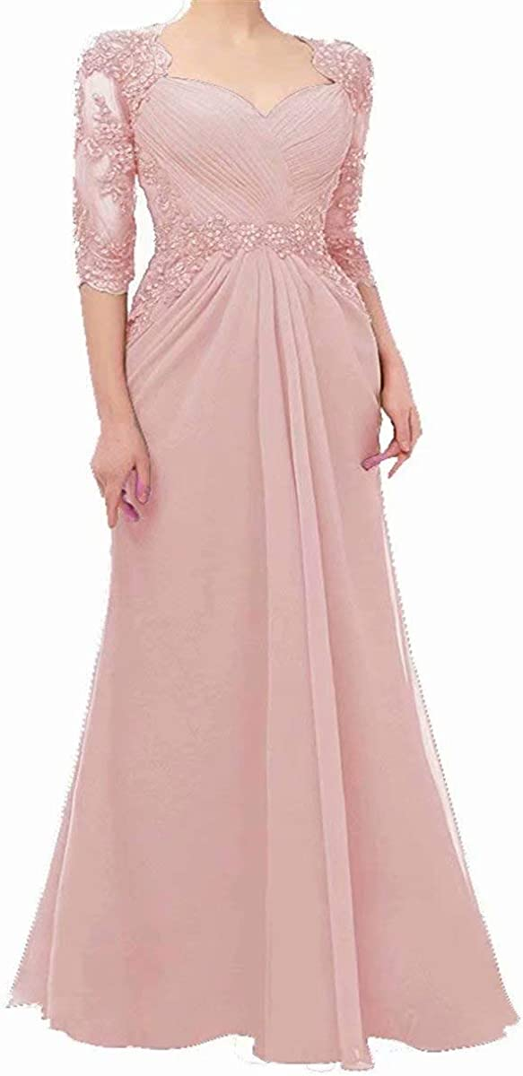 Women's Lace Applique Mother of The Bride Dresses 3/4 Sleeves Sheath Formal Evening Gowns Beaded