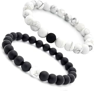 Linisorn Moon Stones Beaded Stretch OM Malas Meditation Bracelets