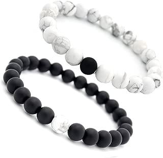 Enjoit Distance Bracelet Black Matte Agate & White Howlite Energy Stone Beads Bracelet Set Couple Bracelet