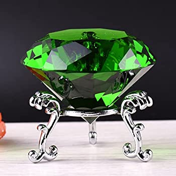 F-ber 60mm  2.36   K9 Crystal Faceted Cut Glass Giant Diamond Paperweight w/ Silver Base Stand Wedding Favor Home Decor Green