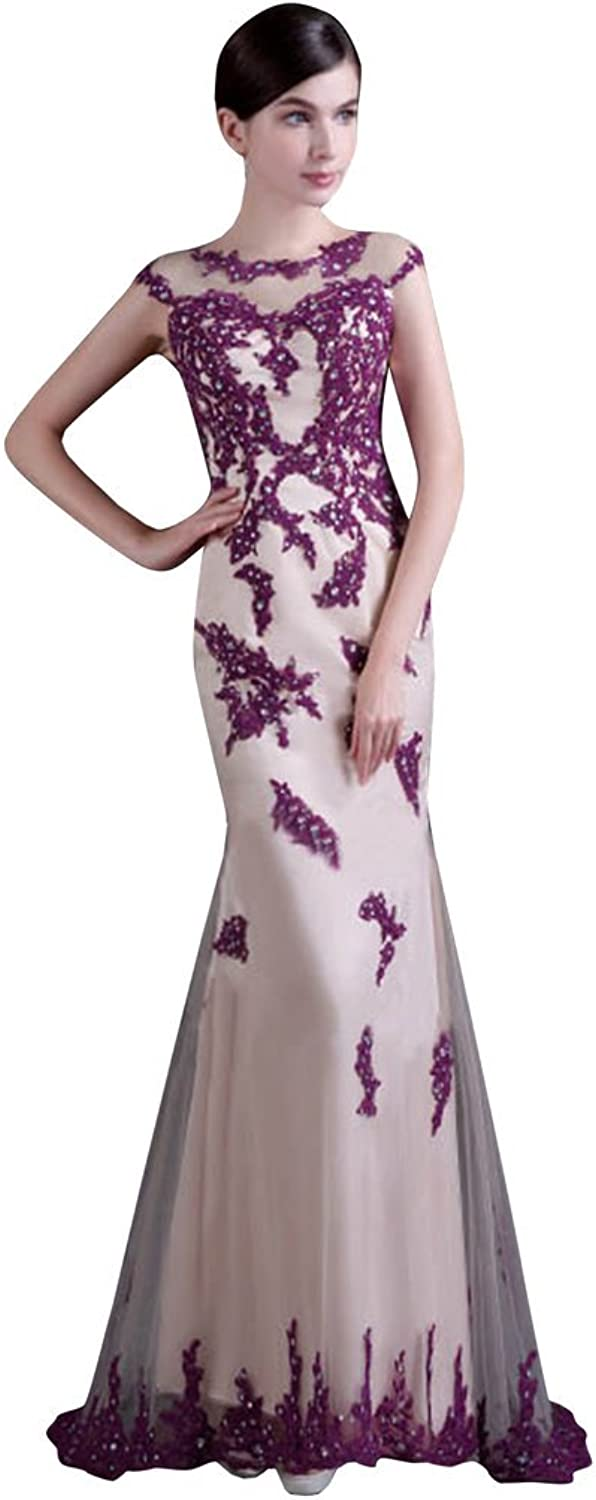 Drasawee Women's Collar Beaded Lace Evening Dress Long Formal Party Gowns