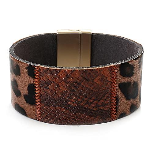 HMANE Pulseras de Cuero de Leopardo para Mujer, a la Moda, con Estampado de Piel de Serpiente, Pulseras y brazaletes Bohemios para Mujer, joyería de Fiesta