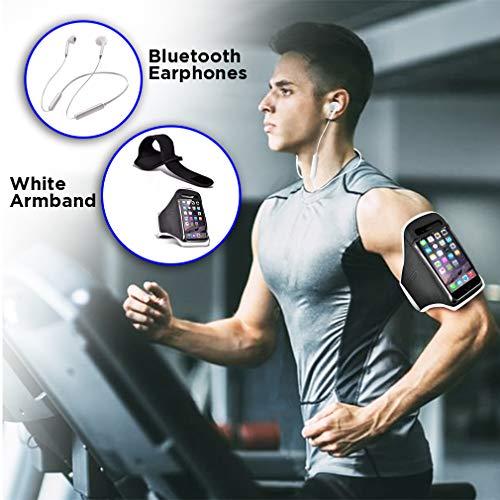 i-Tronixs 2-in-1 Fitness-Sportset, mit Armband und Bluetooth-Kopfhörern für Cubot S600 12,7 cm (5 Zoll), Weiß