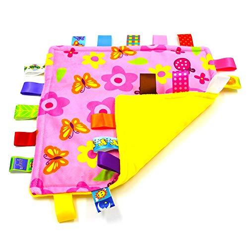 Lovey Bébé Sensory Teething Jouet avec fermé ruban tags pour la stimulation accrue, Couverture de sécurité confortable pour bébé tout-petits enfants, Fleur