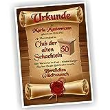 Play-Too Geburtstagsurkunde 30 40 50 60 Club der Alten Schachteln Bild Geschenk Urkunde Geburtstag personalisiert Fest