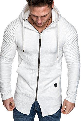 Amaci&Sons Herren Oversize Biker Jacke Kapuzenpullover Strickjacke Hoodie Sweatjacke Pullover 4031 Weiß M
