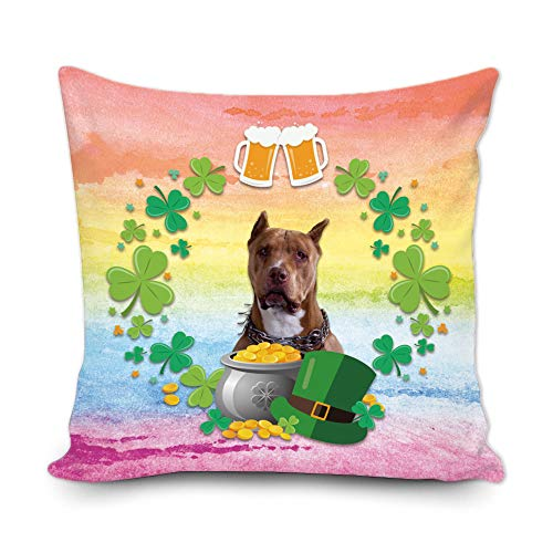 BAGEYOU Funda de almohada decorativa con diseño de trébol de trébol verde con texto en inglés 'My Love Dog Pitbull Green Hat Golden Beer Decor Throw Cover de cojín de 50 x 50 cm