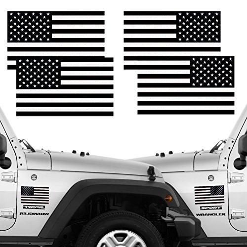 Reflective Subdued American Flag Stickers 2 Pairs Bundle 3 X 5 Tactical Military Flag Reverse USA Decal for SUV, Hard Hat, Car Vinyl Window Bumper Decal Sticker