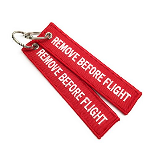 Remove Before Flight Llavero | Etiqueta de Equipaje | Conjunto de 2 | Rojo/Blanco | Aviamart®