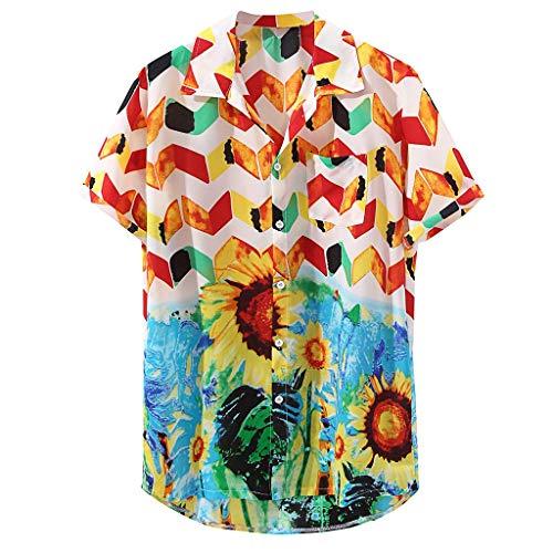 Wtouhe Herren Kurzarm Hemden Sommer Slim Fit Front-Tasche 3D Druck Blumen Hemd Angenehm Zu Tragen Stoff Gute QualitäT Hawaiianischer Stil Meer Freund Hemden MäNner