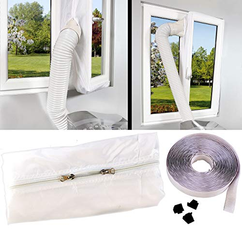 Sichler Haushaltsgeräte Fensterabdichtung Klima: Abluft Fensterabdichtung für mobile Klimageräte, Hot Air Stop (Klimaanlage Fensterabdichtung)
